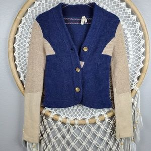 Free People wool blend button down boho sweater